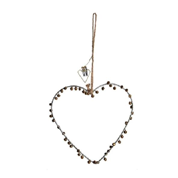 Hanging Bell Heart Decoration - Brass or Silver - Walther & Co, Denmark - Greige - Home & Garden - Chiswick, London W4