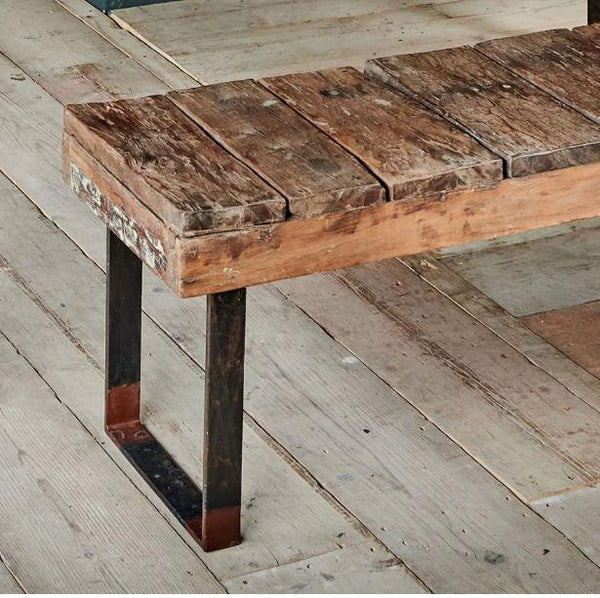 Reclaimed Wood and Iron Outdoor Bench - Two Sizes - Greige - Home & Garden - Chiswick, London W4