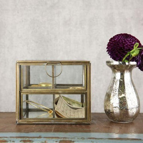 Antique Brass and Glass Compartment Box - Greige - Home & Garden - Chiswick, London W4