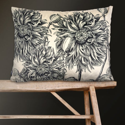 Velvet Cushion - White Poppy - 50x70 - Vanilla Fly - Greige - Home & Garden - Chiswick, London W4
