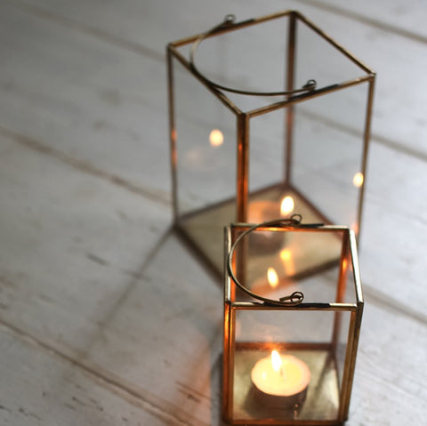 Antique brass & glass box lantern