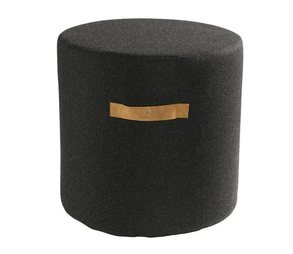 Pure wool pouf with leather handle black