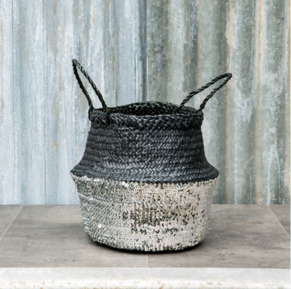 black seagrass belly basket with silver sequins