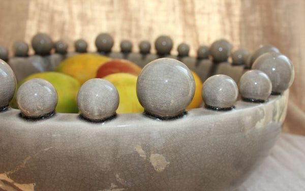Large Grey Ceramic Bowl with Bobbles on Rim - Greige - Home & Garden - Chiswick, London W4