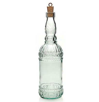 Recycled glass bottle with cork