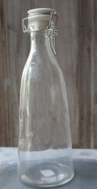 Clear Glass Bottle with Ceramic Swing Top Stopper - Greige - Home & Garden - Chiswick, London W4