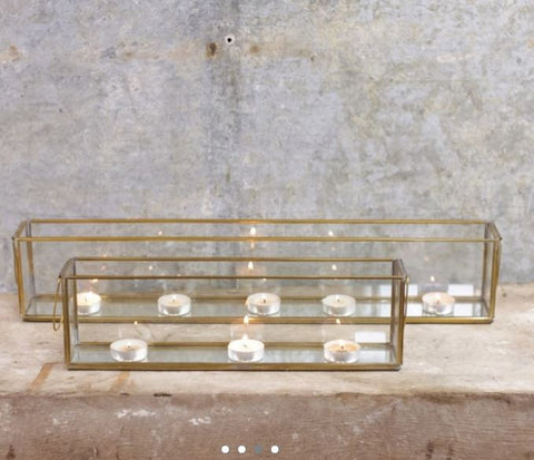 Antique Brass and Glass Tealight Box