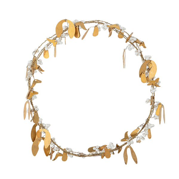 Brass and Bead Mistletoe Wreath - 30cm