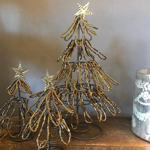 Beaded Brass Christmas Tree from Walther & Co, Denmark - Greige - Home & Garden - Chiswick, London W4