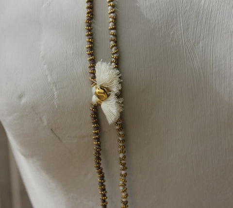 Brass & Cotton Cord Necklace - Caths of Belgium - Greige - Home & Garden - Chiswick, London W4