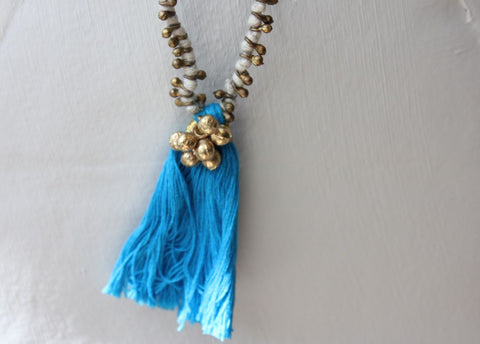 brass & cotton tassle necklace
