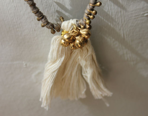 Brass & Cotton Tassle Necklace - Caths of Belgium - Greige - Home & Garden - Chiswick, London W4