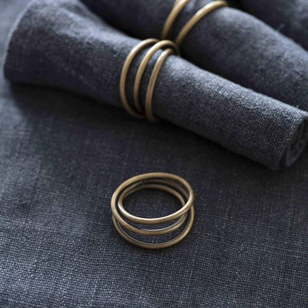 Set of Four Brass Napkin Rings - Greige - Home & Garden - Chiswick, London W4
