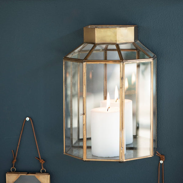 Antiqued Brass and Glass Wall Lantern with Mirrored Back - Greige - Home & Garden - Chiswick, London W4