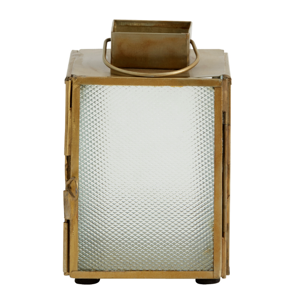 Antiqued Brass and Frosted Glass Lantern - Two Sizes - Greige - Home & Garden - Chiswick, London W4