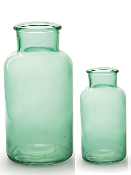 Simple Bottle Neck Green Glass Vase - Two Sizes