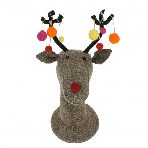 Felt Grey Reindeer Head with Multi Colour Pom Pom Baubles - Greige - Home & Garden - Chiswick, London W4