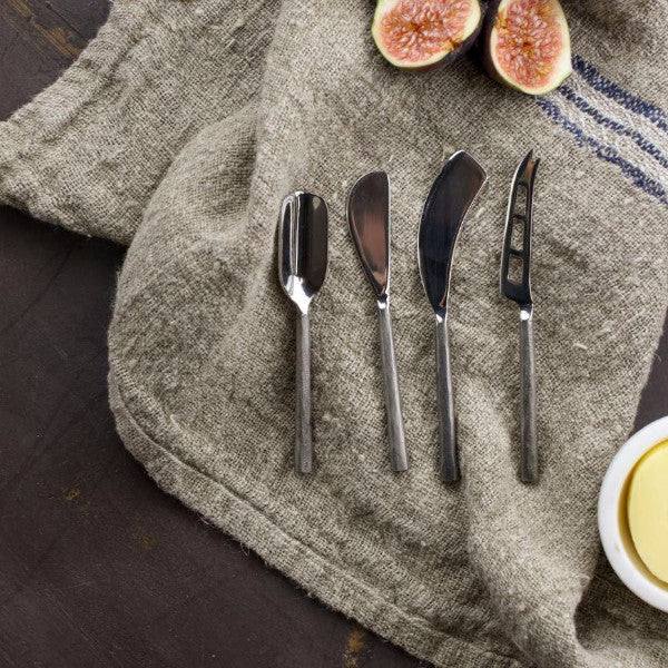 hand forged cheese knife set brushed silver