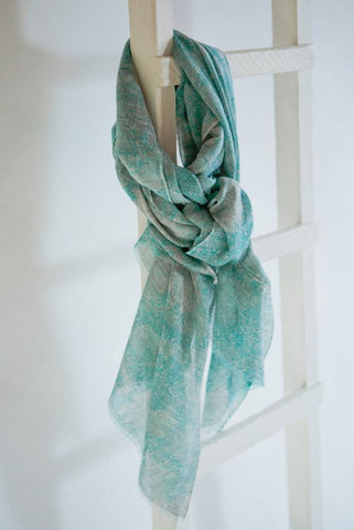 Matisse Pale Grey/Turquoise Wool & Cotton Scarf from Jo Edwards