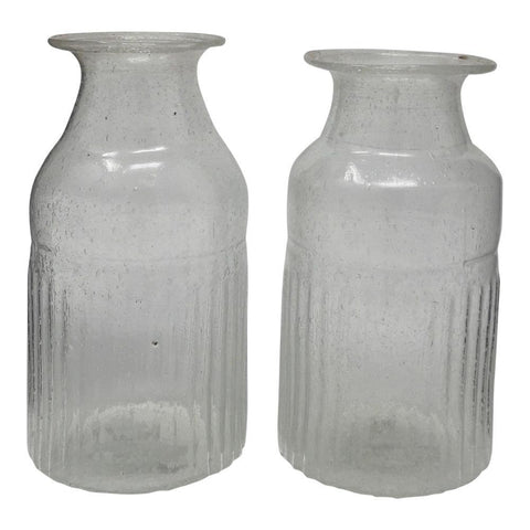 Ribbed Bottle Vase - Recycled Glass - Clear