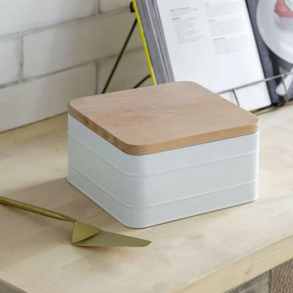 powder coated steel cake tin white with beech lid