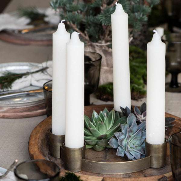 Antiqued Brass Candle Holder Ring with Moveable Holders