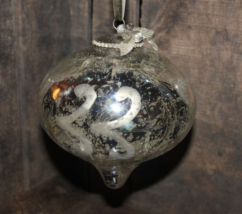 Giant Antique Silver Onion Bauble