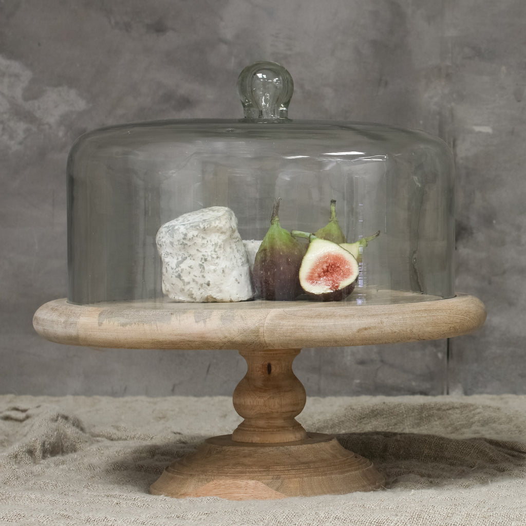 Finest Mango Wood Cake Stand with Recycled Glass Dome OT37