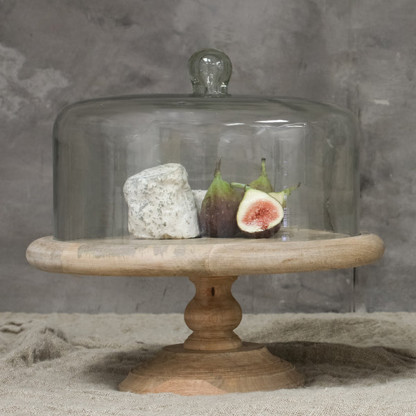 Mango Wood Cake Stand With Recycled Glass Dome