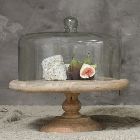 recycled glass cake dome on mango wood cake stand