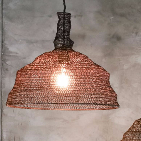 unusual conical shaped wire lampshade rust