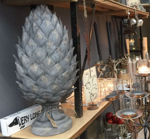 Tall Grey Pine Cone Finial