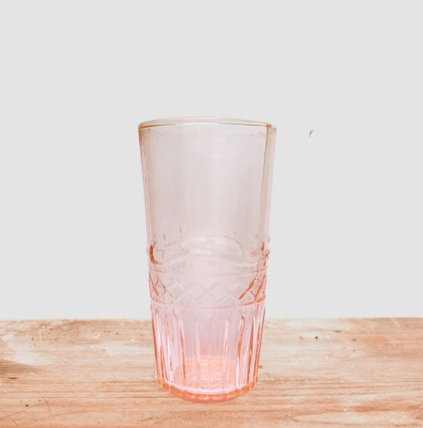 Set of Six Assorted Water Glasses - Pink or Amber