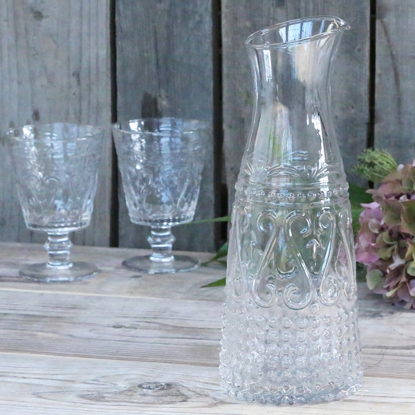 Elegant Pressed Glass Carafe and Jug - Greige - Home & Garden - Chiswick, London W4