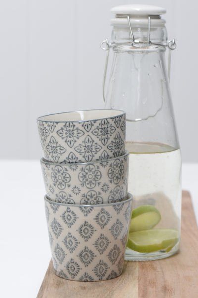 Stoneware Beaker - Set of Three Assorted Designs - Grey - Greige - Home & Garden - Chiswick, London W4