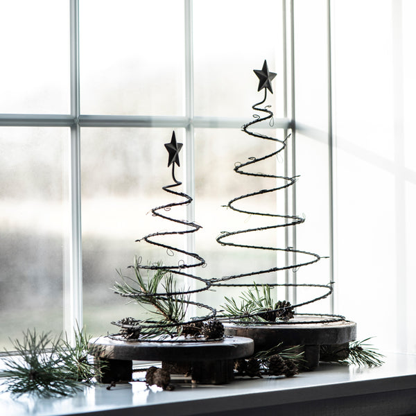 Set of Two Metal Spiral Christmas Trees - Greige - Home & Garden - Chiswick, London W4