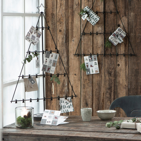 Metal Christmas Tree on Stand with 24 Clips - Greige - Home & Garden - Chiswick, London W4