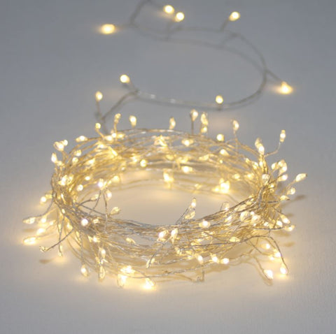 fine naked silver wire cluster fairy lights LED warm white
