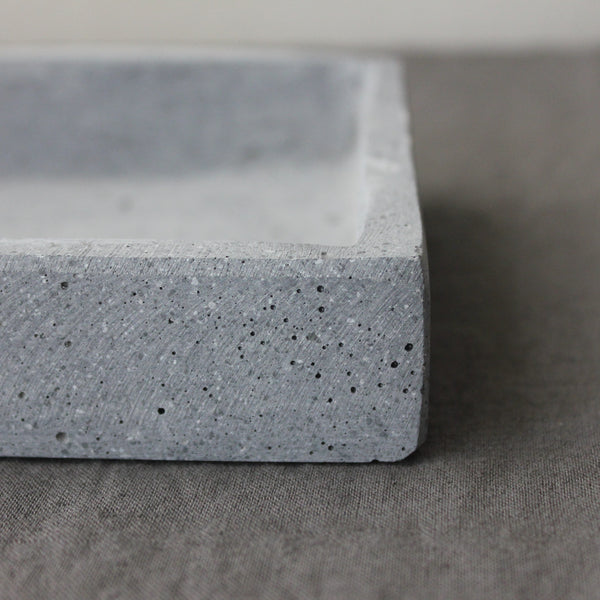 Grey concrete candle tray for Long rectangular candle tray