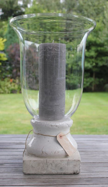 Tall Glass Hurricane Or Vase With Cream Stone Base