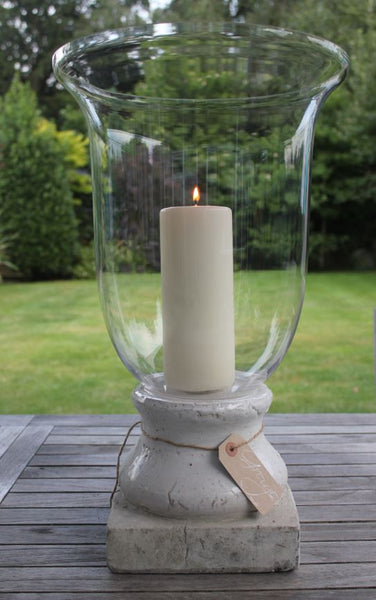 Tall Glass Hurricane or Vase with Cream Stone Base - Greige - Home & Garden - Chiswick, London W4