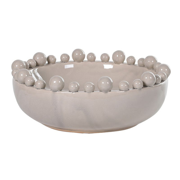 Large cream bowl with bobbles on rim