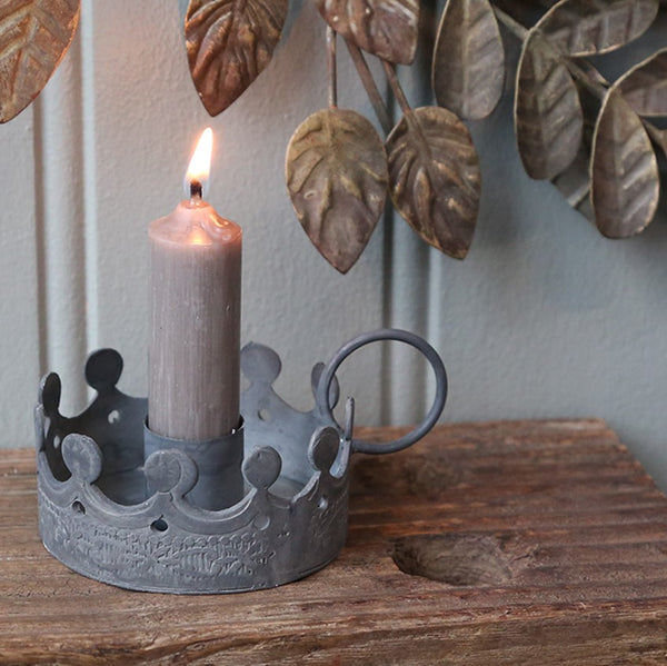 Crown Chamberstick Candle Holder - Greige - Home & Garden - Chiswick, London W4