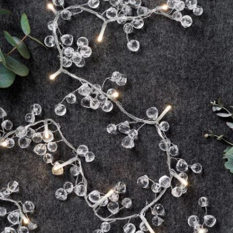 Clear Crystal Light Chain - Battery Powered - Greige - Home & Garden - Chiswick, London W4