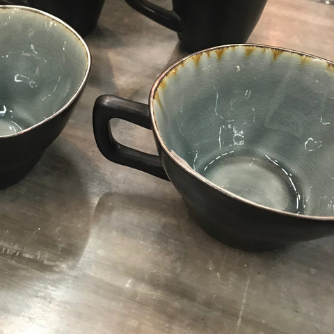 Grey Crackle Stoneware Series - Four Wide Cups