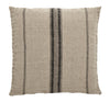 Large Linen Cushion - Natural with Black Stripes - Greige - Home & Garden - Chiswick, London W4