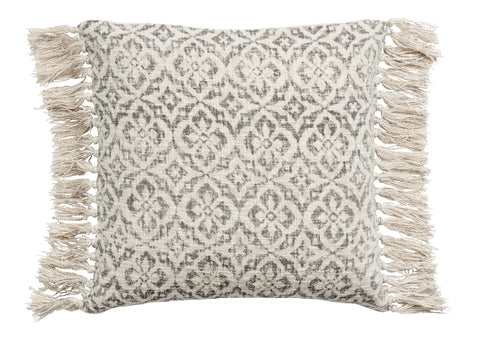 Large Tasselled Cotton Cushion - Natural with Grey Floral Print - Greige - Home & Garden - Chiswick, London W4
