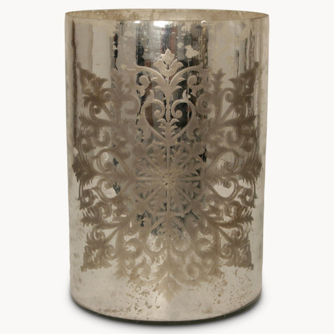 Large glass cylinder hurricane antique silver