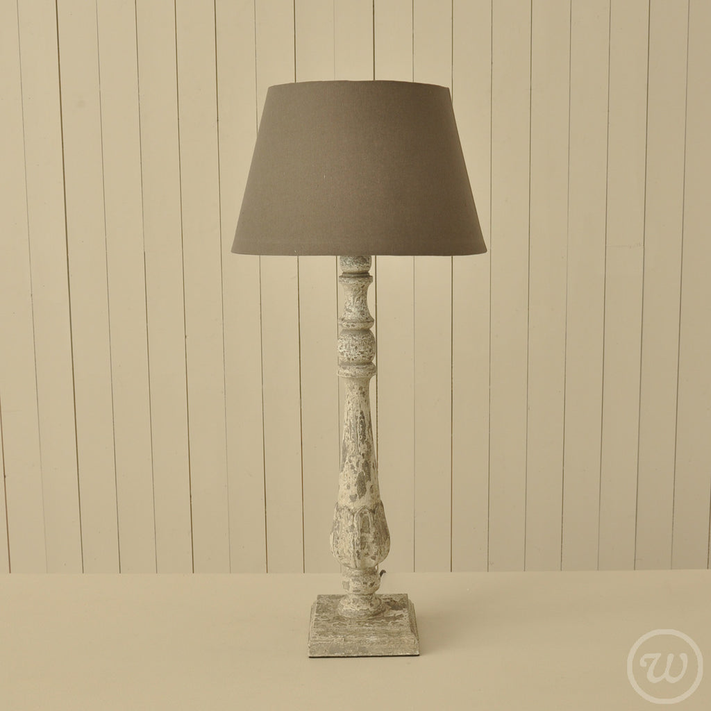 Tall Cream Distressed Lamp With Drum Shade Pair