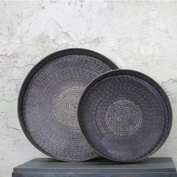Brass Tray with Intricately Etched Matt Black Top - Two Sizes - Greige - Home & Garden - Chiswick, London W4
